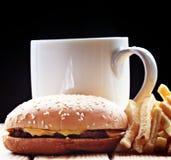 Burger fries black background Stock Photo