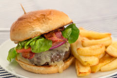 Burger and fries with a brioche bun. Cheeseburger and fries with a brioche bun - studio shot with a shallow depth of field royalty free stock images
