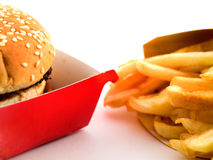 Burger and Fries in Cardboard Royalty Free Stock Photos