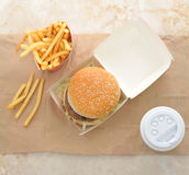 Burger, fries and coffee in plastic Cup Royalty Free Stock Photo