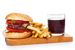Burger, fries and coke Stock Image