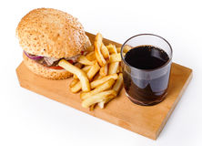 Burger, fries and coke Royalty Free Stock Photography