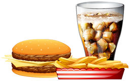 Burger, fries and a cola Royalty Free Stock Images