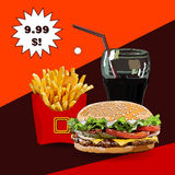 Burger fries and cola  illustration Royalty Free Stock Photo