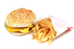 Burger and fries combo. Burger with fries isolated on white background Stock Images