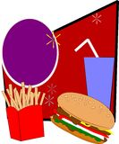 Burger and fries combo. Popular meal for teens signage over white in retro style vector Stock Photo