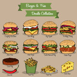 Burger and Fries Doodle Collection stock illustration
