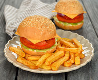 Burger with fries Stock Photo