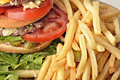 Burger and fries. Hamburger patty with tomato and lettuce, potatoes stock photo