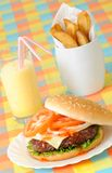 Burger Fries & Milkshake Royalty Free Stock Photography
