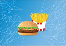 Burger and fries network concept illustration. Design graphic Stock Images