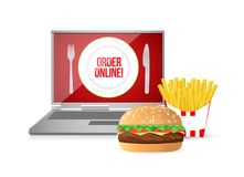 Burger and fries order online concept. Illustration design isolated over white Stock Photos