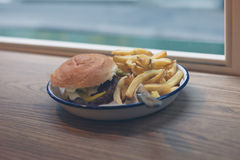 Burger and fries on a plate Royalty Free Stock Images