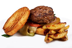 Burger and fries with sauce Royalty Free Stock Image