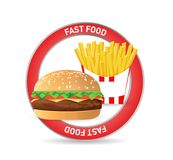 Burger and fries seal concept illustration design. Isolated over white Stock Photos