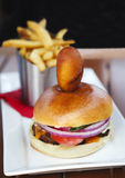 Burger and fries. Selective focus. Royalty Free Stock Photos