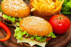 Burger with fries and tomato Royalty Free Stock Images
