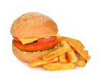 Burger with fries Royalty Free Stock Images