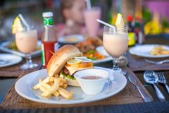 Burger and fries on white plate for lunch Royalty Free Stock Photos