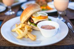 Burger and fries on white plate for lunch Stock Photos