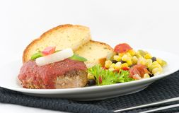 Burger and garlic bread Royalty Free Stock Images