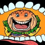 Burger geht in Mund stock abbildung