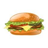 Burger getrennt auf weißem Hintergrund Cheeseburgervektorillustration Stockfotos