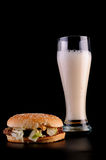 Burger and glass of beer Royalty Free Stock Photos