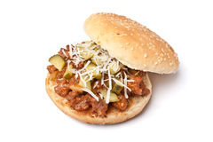 Burger with grated cheese and pickles Stock Image