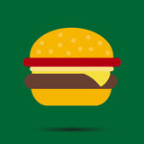 Burger on a green background with shadow Stock Photo
