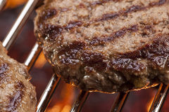 Burger on the grill Stock Photo
