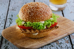 Burger with grilled chicken Royalty Free Stock Photo