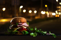 Burger with ham and salad Stock Photos