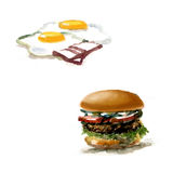 Burger, hamburger. drawing black and white silhouette, graphic, Stock Photo