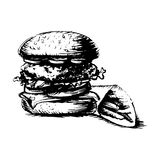 Burger, hamburger. drawing black and white silhouette, graphic,. Icon, vector Royalty Free Stock Photo