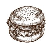 Burger, hamburger sketch. Fast food concept. Hand-drawn vector illustration Royalty Free Stock Photography