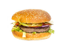 Burger. Hamburger on a white background in the restaurant royalty free stock images