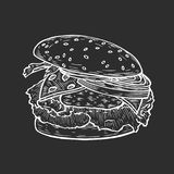 Burger hand drawn. Hand drawn Burger include cutlet, tomato, cheese, cucumber and salad isolated on black background. Vector vintage engraving illustration for Royalty Free Stock Images