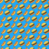 Burger and hot dog pattern Royalty Free Stock Photos