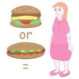 Burger or hotdog equal fat girl Royalty Free Stock Photo