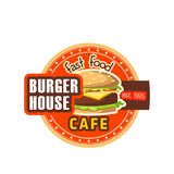 Burger House restaurant cheeseburger vector icon Stock Image