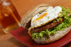 Burger and iced tea Royalty Free Stock Photo