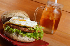 Burger and iced tea Royalty Free Stock Images