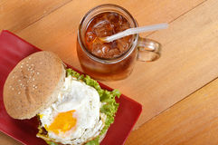 Burger and iced tea Stock Image