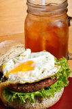 Burger and iced tea Stock Images