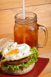 Burger and iced tea Stock Photo