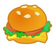 Burger icon. Bun sandwich with cheese; lettuce and tomato in vector a icon Stock Image