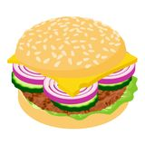 Burger icon, isometric 3d style. Burger icon. Isometric illustration of burger icon for web Royalty Free Stock Photo