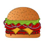 burger icon. On a white background, vector illustration Stock Images