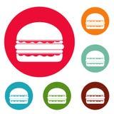 Burger icons circle set vector illustration